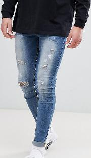 super skinny jeans  mid wash with distressing exclusive to asos