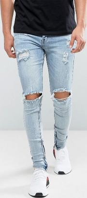 Super Skinny Jeans  Midwash Blue With Distressing