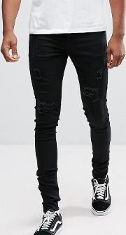 Tall Super Skinny Jeans  Black With Distressing