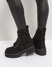 chunky sole metallic lace up boot