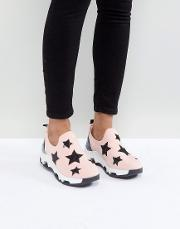 pink star slip on trainers