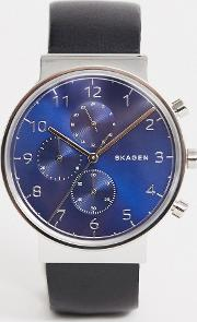 Mens Stainless Steel Watch With Blue Dial