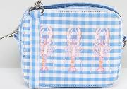 embroidered gingham lobster cross body bag