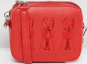 embroidered lobster cross body bag