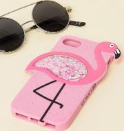 Flamingo Glitter Silicone Iphone  Case