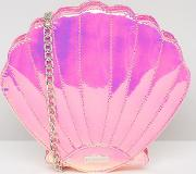 holographic pink shell cross body bag