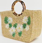 Kaia Straw Tote Bag With Bamboo Handle