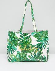 palm print tote bag with holiday embroidery