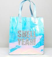 shell yeah iridescent tote bag