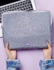 silver glitter laptop case