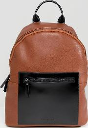 leather backpack tan contrast