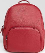 saffiano leather backpack in red