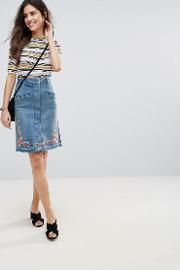 embroidered denim pencil skirt