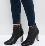 Alicia Black Studded Heeled Ankle Boots