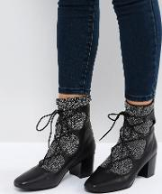 cupid black leather glitter ghillie boots