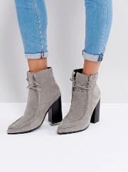 Dillan Grey Suede Heeled Ankle Boots