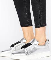 mickey slip on silver leather trainers