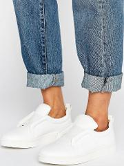 Mickey Slip On White Leather Trainers