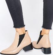 rico nude pony leather heeled ankle boots