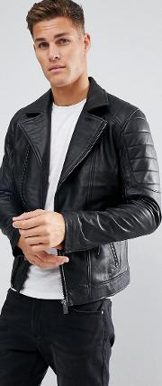 leather biker jacker with quilting