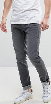 Slim Fit Jeans In Mid Grey Wash With Stretch
