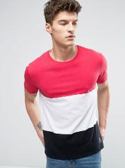 t shirt with colour block in cut & sew