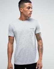 t shirt with pocket and raw neck in grey