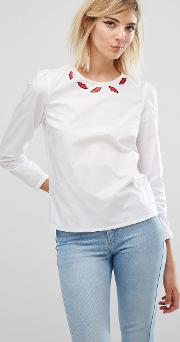 Sonia By  Rykiel Lip Motif Blouse