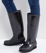 Joan Rain Black Tall Gloss Wellies