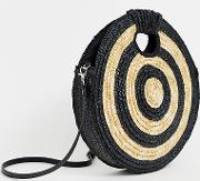 Exclusive Large Round Straw Contrast Cross Body Bag