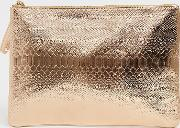 Exclusive Rose Snake Embossed Clutch Bag