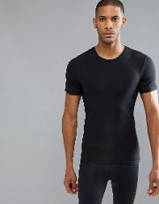Cotton Compression  Shirt Hard Core In Black