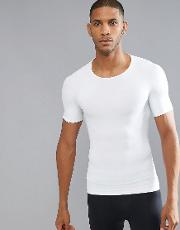 cotton compression  shirt hard core in white