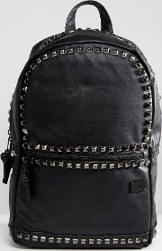 backpack with studs in faux leather