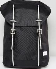 canvas backpack with double contrast buckle fastening