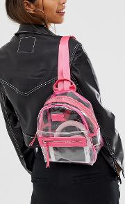 Hxtn Clear Backpack With Pink Trim