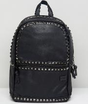 luxe studded backpack in faux leather