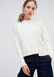 fluffy and cable knit jumper