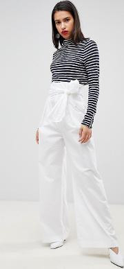 high waisted tie up trousers
