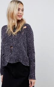 Cropped Chenille Jumper With Distressed Hem