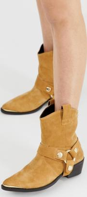 Gallow Suede Flat Western Boots