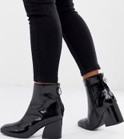 Roxter Patent Mid Heeled Ankle Boots With Square Toe