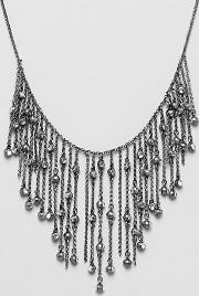 Stone Chain Fringe Statement Necklace