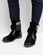 Turntup Suede Warm Boots In Black