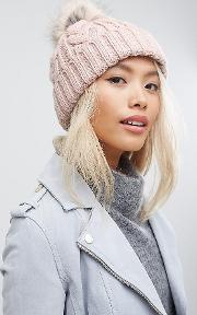 Cable Pom Beanie In Blush Pink
