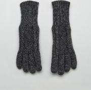 Knitted Cable Gloves In Salt  Pepper Grey