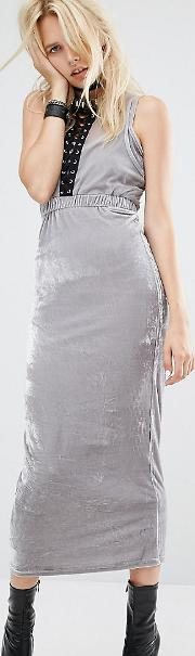 Bodycon Maxi Dress With Cut Outs And Lace Detail In Velour