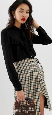 Blouse With Bow And Frill Detail
