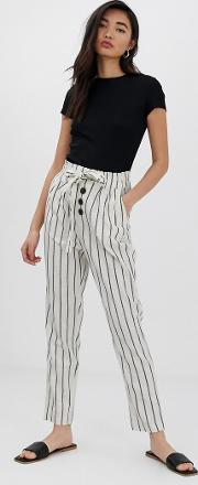Button Front Linen Trousers Stripe