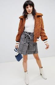 check mini skirt with tie waist detail